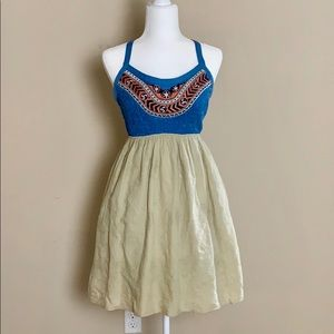 NWT Theme Dress With Tribal Embroidery & Smocking